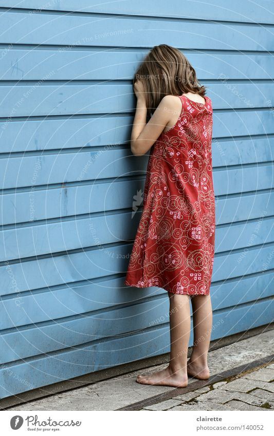 Child Girl Red Summer Loneliness Emotions Playing Sadness Dress Hide Cry Barefoot Numbers