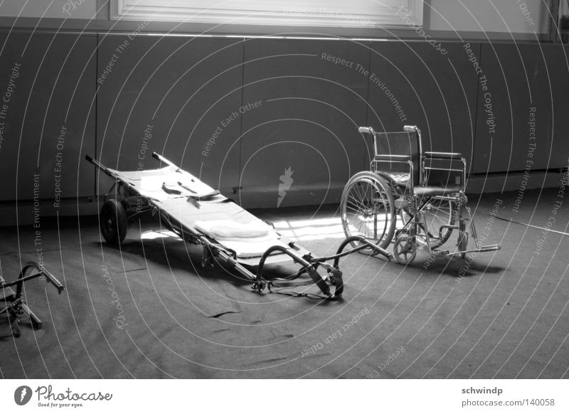 storeroom Wheelchair Basel Helpless Interior shot Healthy stretcher Black & white photo