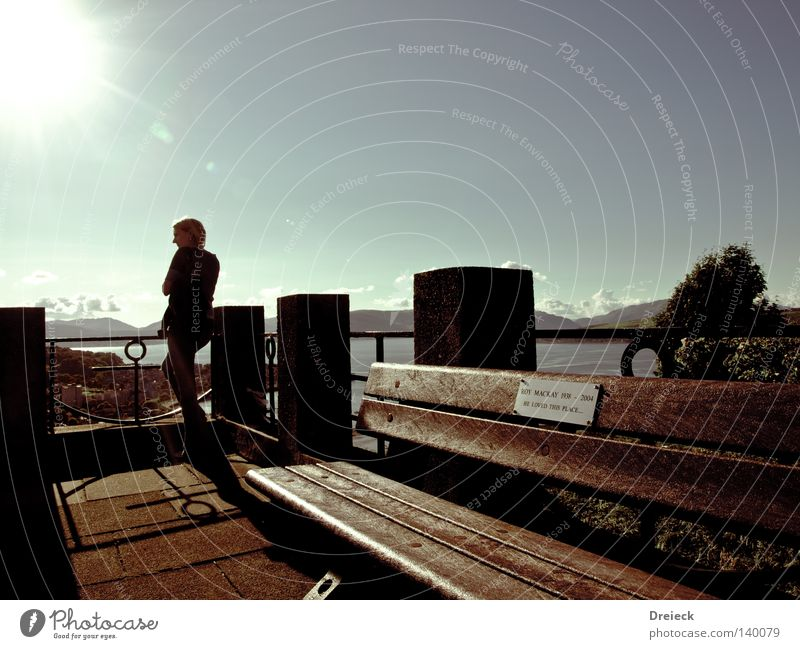 Woman Sky Water Sun Relaxation Mountain Above Warmth Bright Lighting Sit Bench Physics Vantage point England Flashy