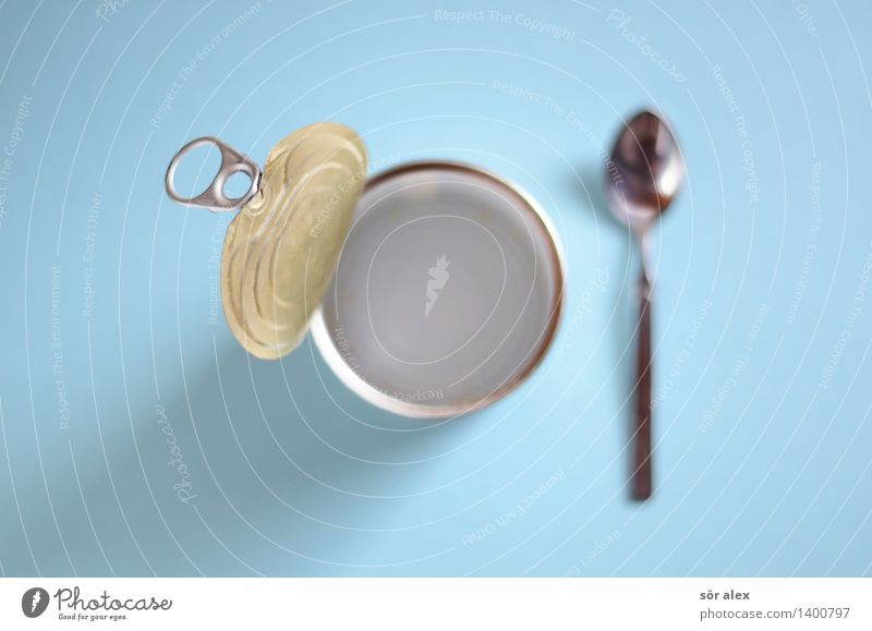 eaten up Food Nutrition Eating Fast food Spoon Tin Blue Food controls Eaten Empty Appetite Colour photo Interior shot Deserted Copy Space left Copy Space right