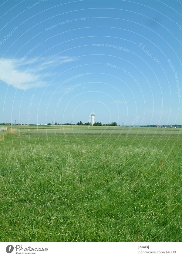 Sky Green Blue Far-off places Meadow Landscape Horizon Vantage point Tower Village Americas Cistern Water tower