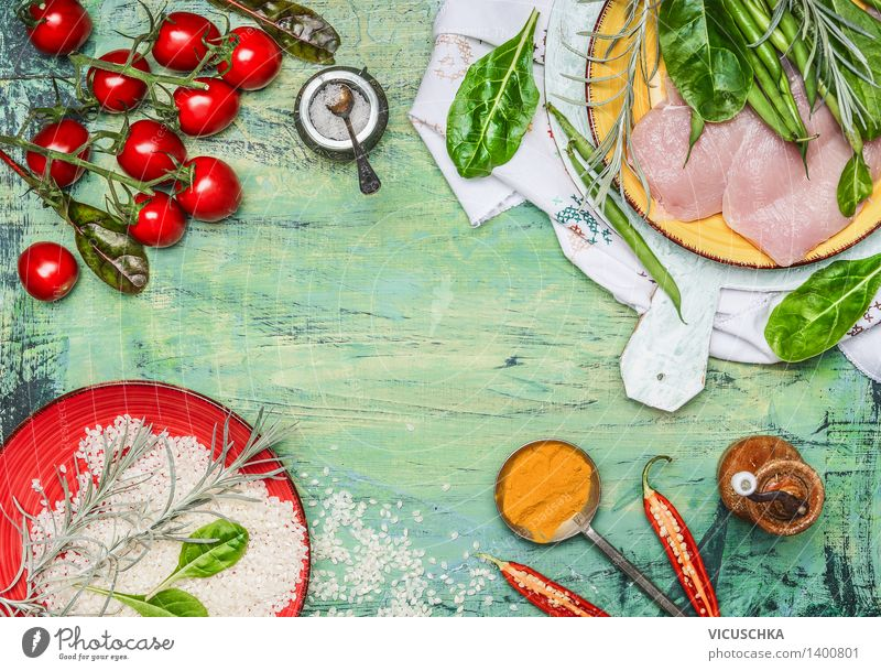 Healthy Eating Life Style Background picture Food Design Nutrition Table Cooking & Baking Fitness Herbs and spices Kitchen Vegetable Organic produce Plate Meat