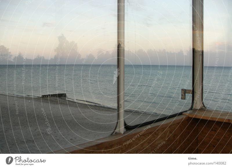 Still wanderlust behind glass Beach Ocean Water Sky Clouds Horizon Coast Baltic Sea Wood Glass Homesickness Wanderlust Loneliness Door handle Aspire Crossbeam