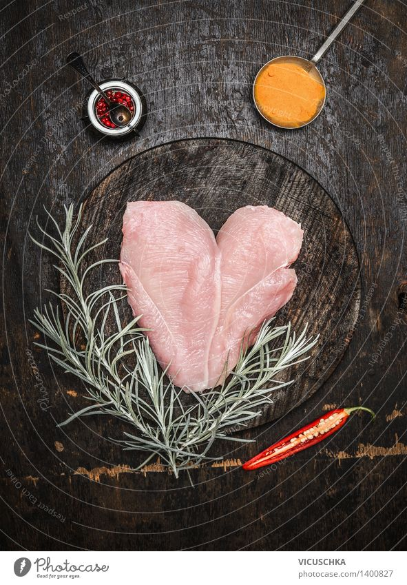 heart-shaped chicken breast with herbs and spices Food Meat Herbs and spices Nutrition Lunch Dinner Banquet Organic produce Diet Spoon Style Design