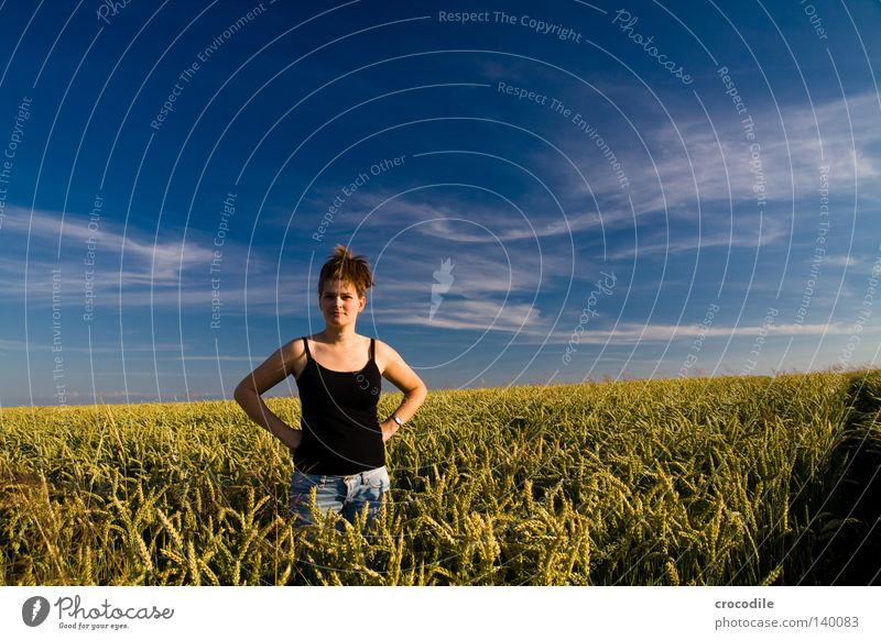 lonesome lady Woman Hair and hairstyles Black Field Nature Wheat Clouds Blue Pol-filter Arm Chest Pants Jeans Horizon Panorama (View) Beautiful Sky Large