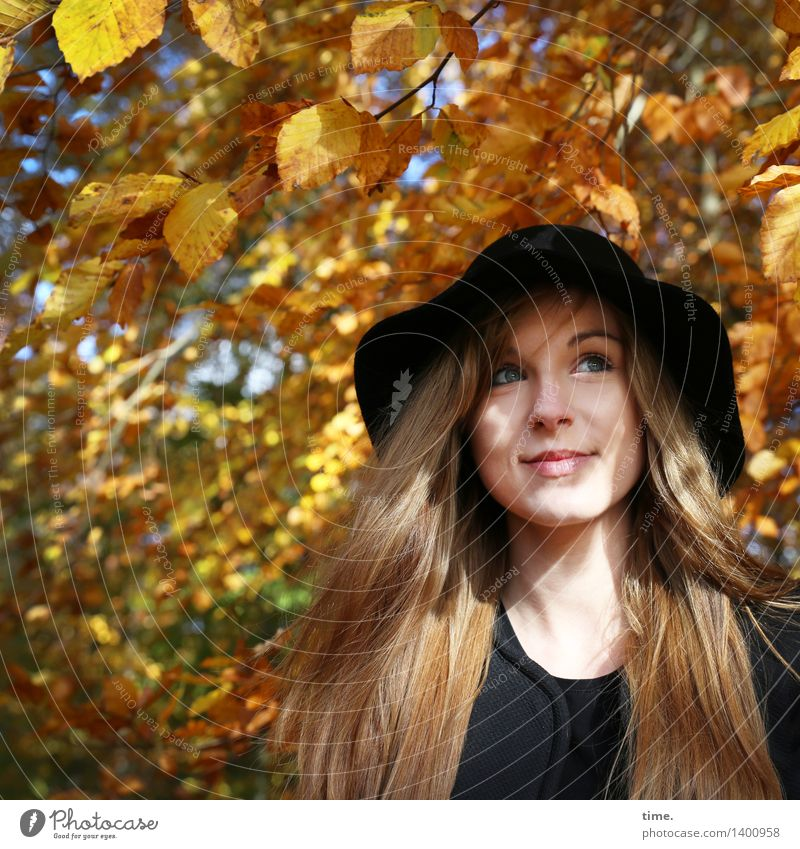 Human being Beautiful Tree Joy Forest Life Autumn Feminine Contentment Illuminate Happiness Esthetic To enjoy Smiling Joie de vivre (Vitality) Observe