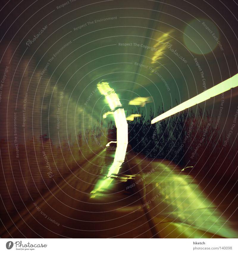 double trouble Tunnel Escalator Light Moon Double exposure Reflection Radiation Lighting Underground Public service