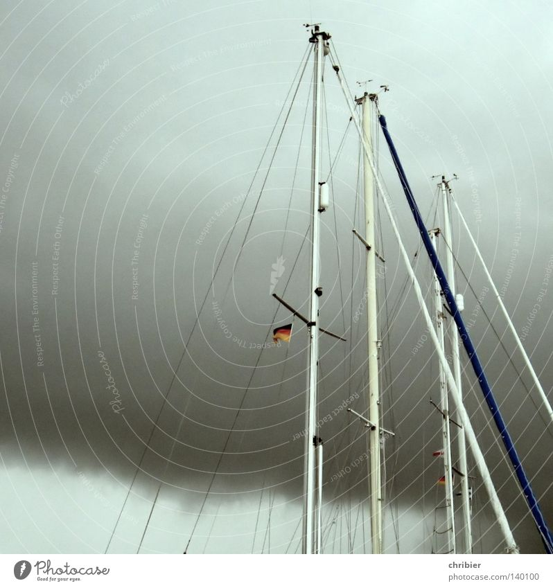 weather masts Sail Sailboat Mast Flagpole Rope Shrouds Sailing Clouds Storm Weather Watercraft Footbridge Harbour Gale Federal eagle German Flag Rain Sports