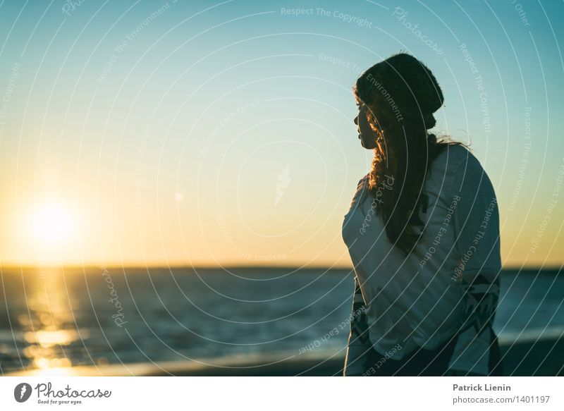 Human being Woman Youth (Young adults) Young woman Sun Relaxation Ocean Calm 18 - 30 years Adults Life Feminine Style Healthy Lifestyle Moody