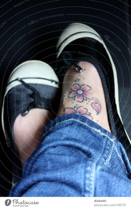 Pink! Cherry blossom Tattoo Flower Feet Women`s feet Footwear Jeans Denim Black Blue Woman Art Culture foot tattoo Skin Dancing shoes