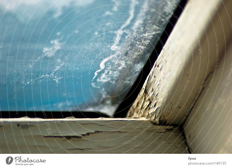 Sky Old Blue White Summer Window Freedom Wood Building Bright Glass Dirty Fresh Broken Roof