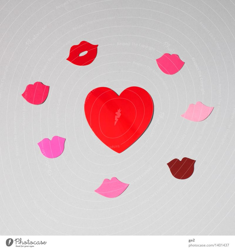 Red Love Emotions Pink Heart Mouth Joie de vivre (Vitality) Paper Romance Sign Lips Infatuation Kissing Handicraft Valentine's Day Sympathy