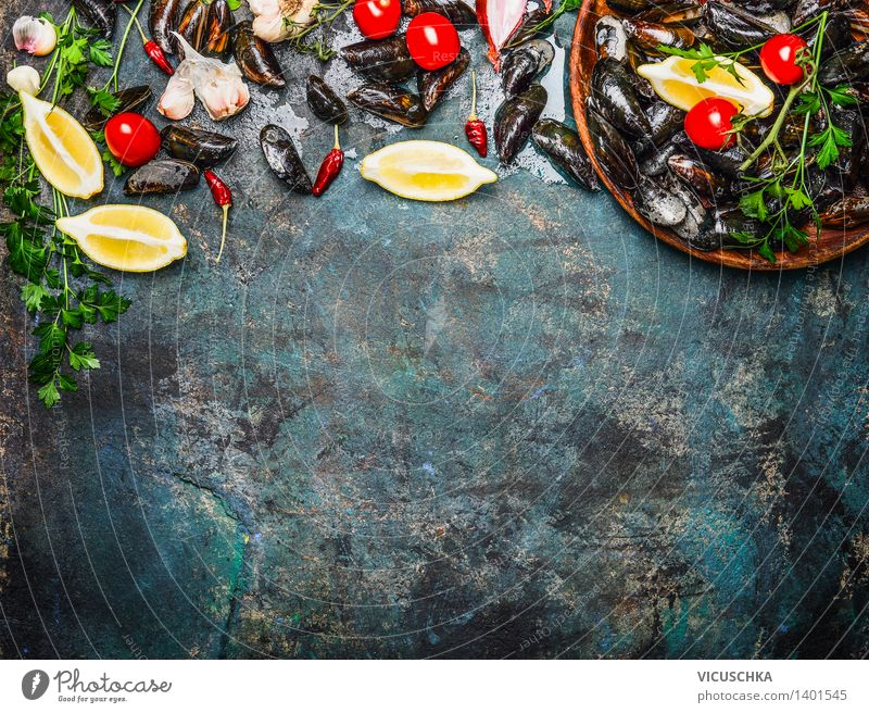 Fresh mussels with ingredients for cooking Food Seafood Vegetable Herbs and spices Nutrition Lunch Banquet Organic produce Vegetarian diet Diet Plate Bowl Style