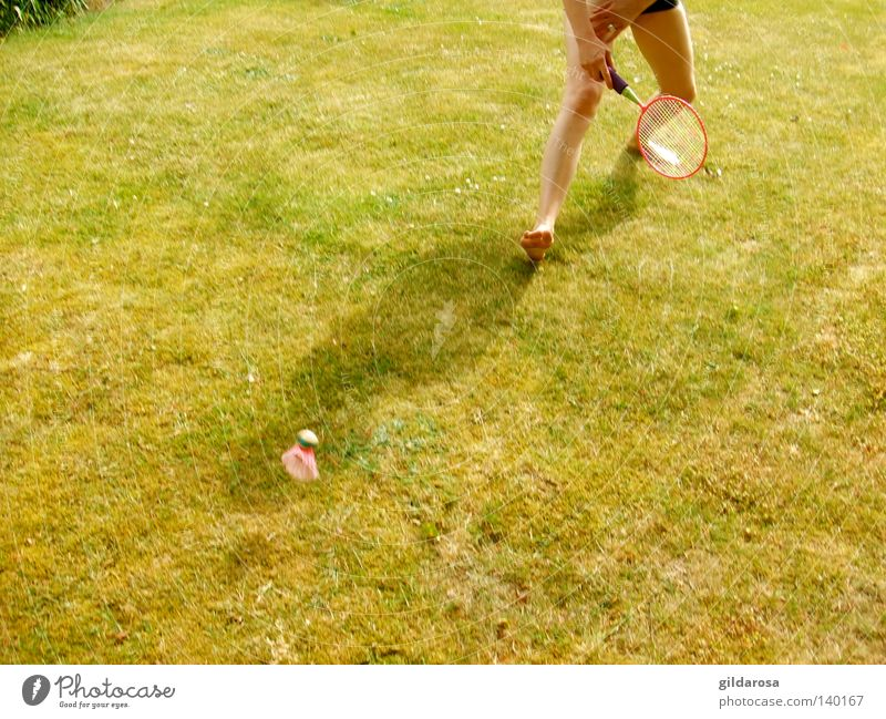 Living in the green Playing Summer Green Ball sports Woman Legs Youth (Young adults) Joy Sports Life Exterior shot Woman's leg Partially visible