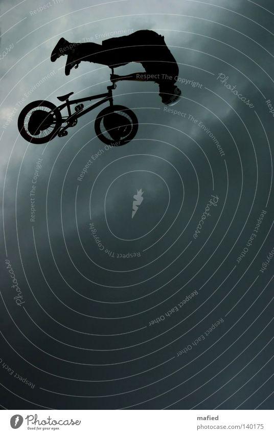 Sky White Blue Black Clouds Dark Jump Gray Bicycle Flying Wheel Tire BMX bike Descent Acrobatics Ramp