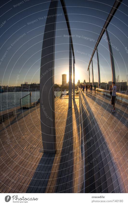 Barcelona II Bridge Meschen Harbour Spain Column Shadow Sun Stars Back-light Going Life Wood Wooden board Water Ocean House (Residential Structure) High-rise