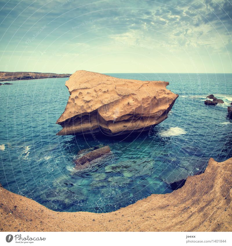 Sky Nature Old Blue Water Ocean Landscape Warmth Coast Brown Rock Horizon Large Island Transience Elements