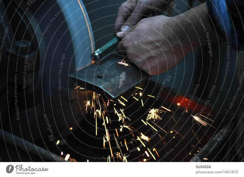grindstone Workplace Workshop Metalworking shop Craft (trade) Tool Machinery Grinder corundum Spark Masculine Hand 1 Human being Work and employment Firm Gray