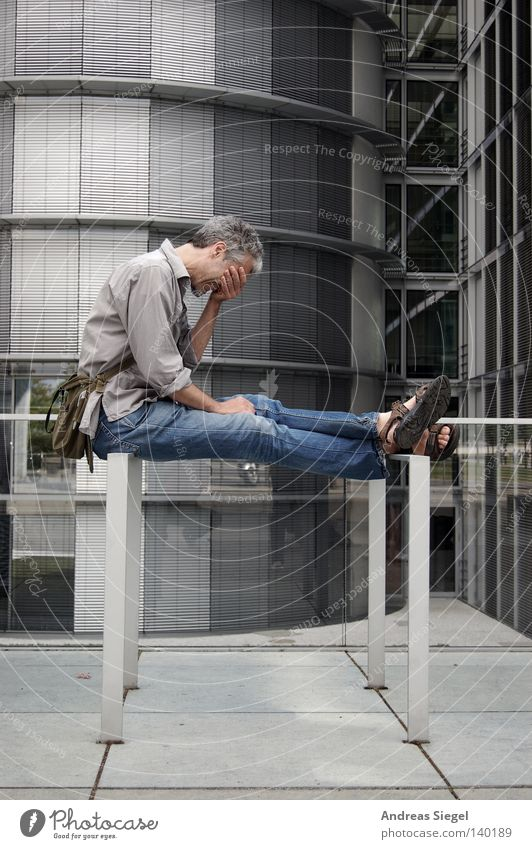 Human being Man Building Sit Jeans Shirt Distress Bag Sandal Z Handbag Letters (alphabet) Computer user Congenial Bicycle rack