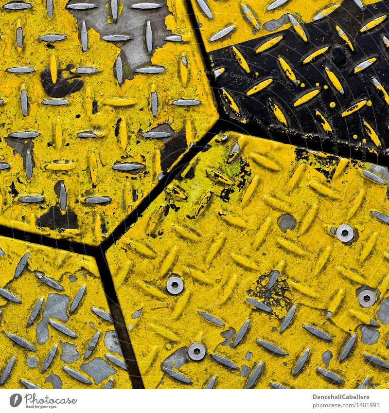 metal honeycomb Metal Steel Sharp-edged Yellow White Corner Honeycomb Varnish Flake off Old Rivet Geometry Line Design Detail Arranged Background picture