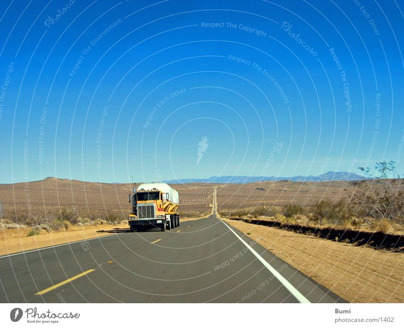 on the road again Truck Far-off places Deserted Transport Street Lanes & trails Loneliness