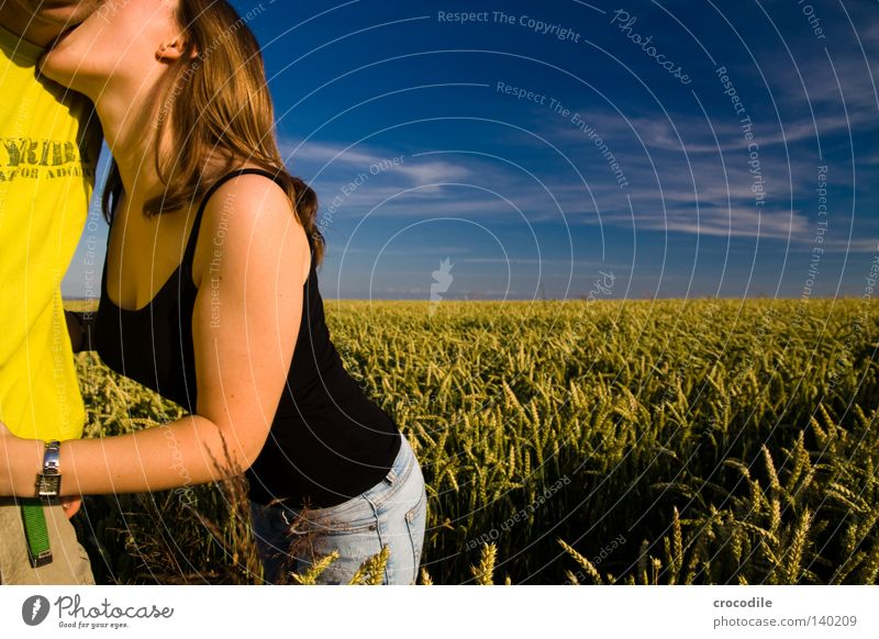 Knutschi Love Kissing Friendship Woman Hair and hairstyles Chest Wheat Field Sky Pol-filter Ear Man Caresses Beautiful Love bite Earring head