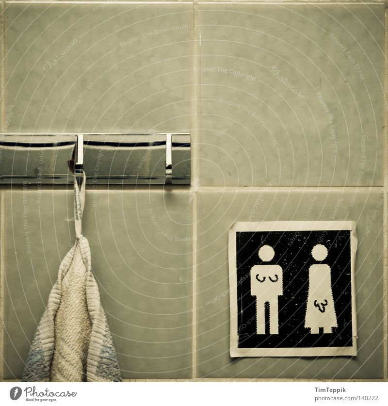 Woman Man Feminine Dirty Signs and labeling Masculine Decoration Signage Retro Cleaning Bathroom Symbols and metaphors Painting and drawing (object) Tile