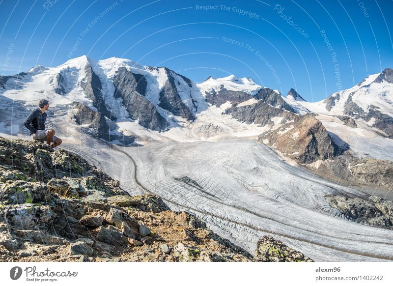 Magnificent panorama in the Alps Lifestyle Athletic Calm Vacation & Travel Adventure Far-off places Freedom Sightseeing Expedition Camping Summer Sun Winter
