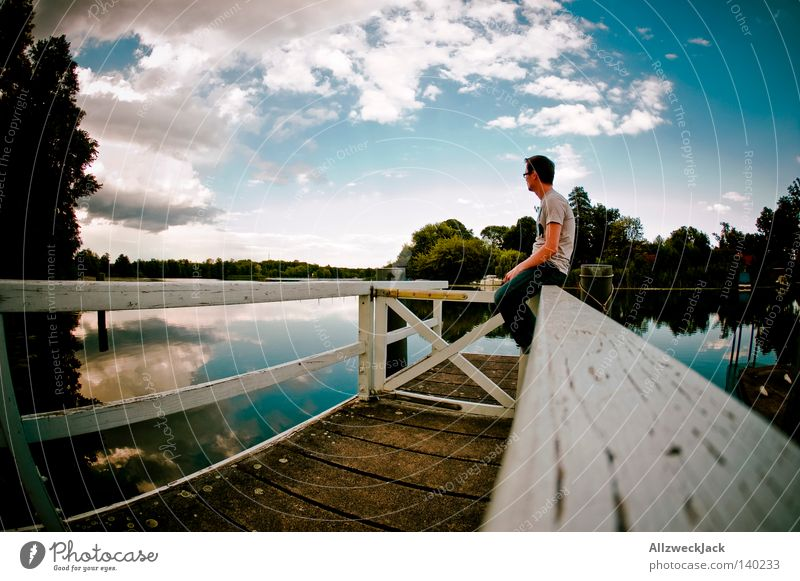 Sittin' on the Dock of the Bay Footbridge Water Lake Summer Sky Clouds Wait Man Relaxation Think Undisturbed Vacation & Travel Loneliness Twilight Cumulus Jetty