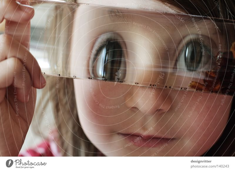 Who looks deep into the glass ... Child Girl Glass Drinking water Water Lens Looking Insight Vista Eyes Distorted Blur Unclear Foreign Unfamiliar Invent