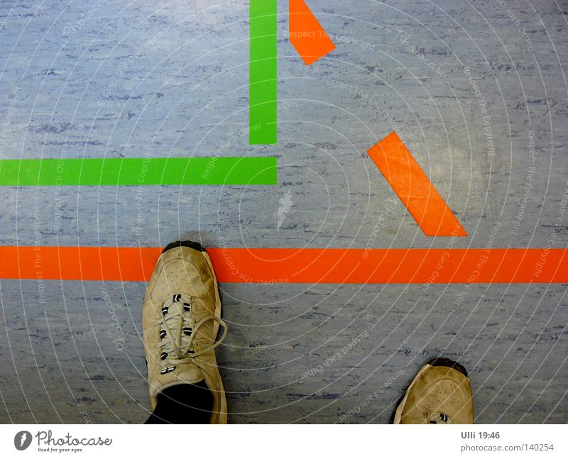 Step over! Colour photo Interior shot Detail Evening Bird's-eye view Downward Joy Leisure and hobbies Sports Sportsperson Man Adults Feet 1 Human being