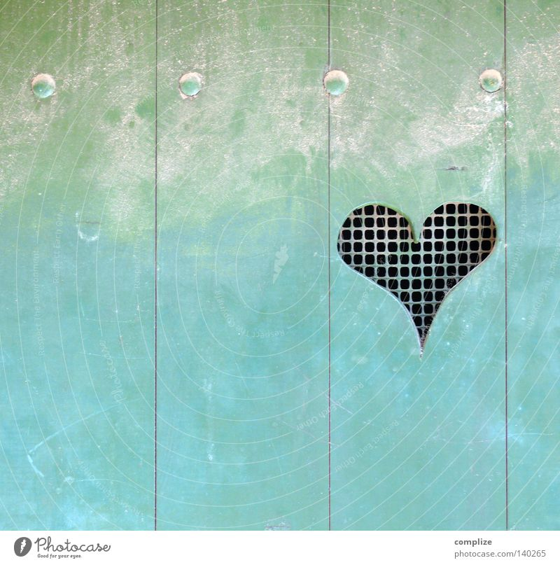 Blue House (Residential Structure) Love Colour Wood Door Heart Symbols and metaphors Toilet Hollow Turquoise Wooden board Grating Infatuation Household