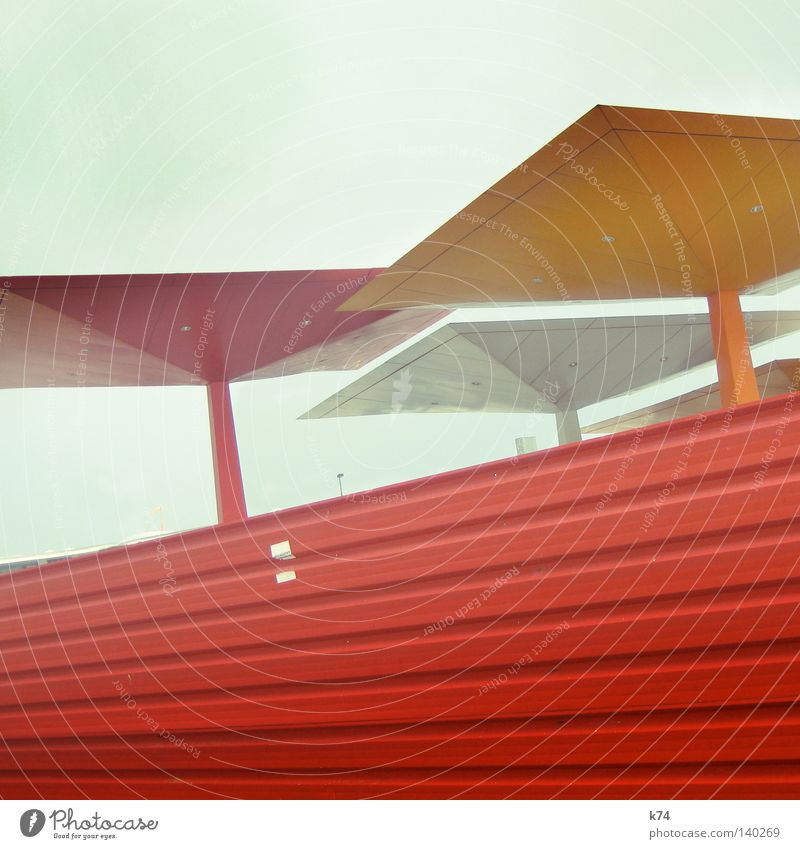 Red Orange Metal Architecture Modern Corner Level Roof Protection Square Steel Considerable Label
