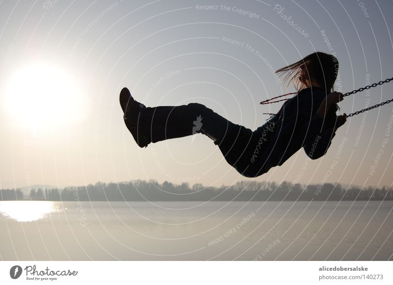 curtain opening Sun Water Lake Swing Human being Shadow Chain Laughter Sky Near Black Dark Deep Tall Light Hair and hairstyles Wind Joy