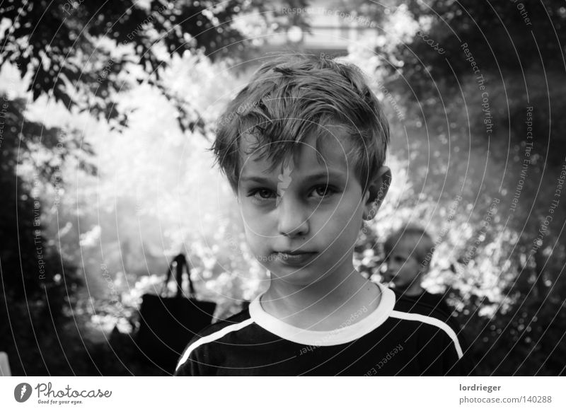 Hanni Looking Child Black White Light Face Smooth Head Hair and hairstyles Portrait photograph Face of a child Black & white photo Upper body