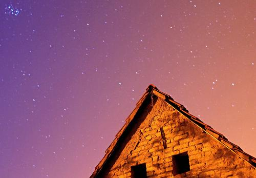 nightsky. Sky Cloudless sky Night sky Stars Climate House (Residential Structure) Hut Roof Glittering Gigantic Blue Violet Orange Calm Moody Triangle Window
