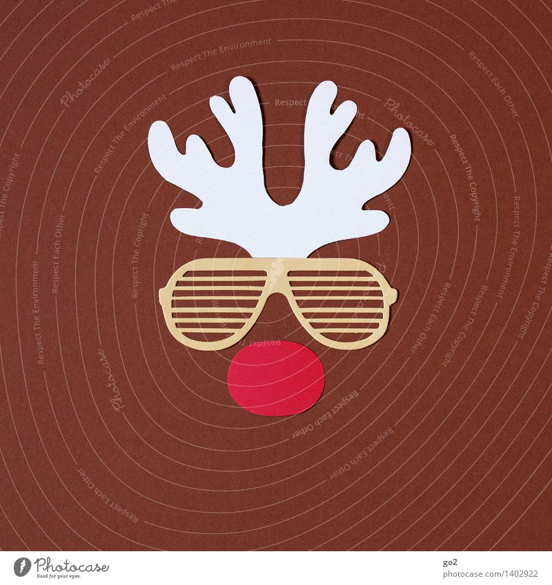 Rudolph Handicraft Christmas & Advent Sunglasses Animal Reindeer Antlers Nose Paper Funny Brown Red White Colour photo Interior shot Studio shot Deserted Day