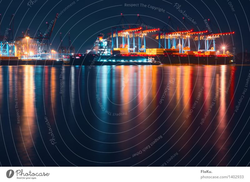 night shift Work and employment Coast River bank Elbe Hamburg Germany Town Port City Harbour Landmark Navigation Boating trip Container ship Blue Red
