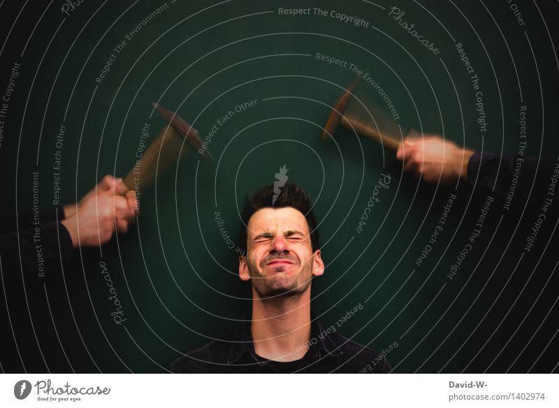 ouch - hammering headache Headache migraine Autsch visualization Creativity creatively Pain Human being Illness hands Hammer Beat Pressure Text free space above