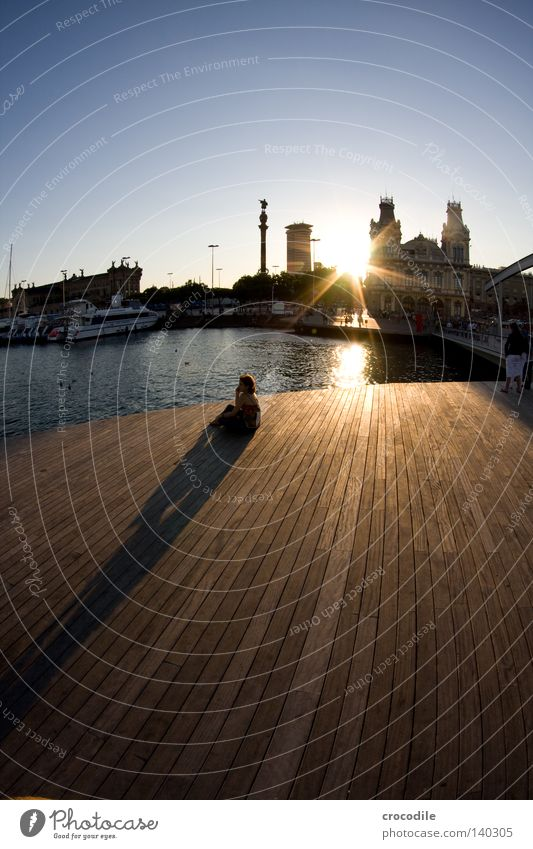 lonely Loneliness Human being Doomed Think Shadow Wood Footbridge Grief Watercraft Barcelona Spain Sun Sunset Sky House (Residential Structure) Fisheye