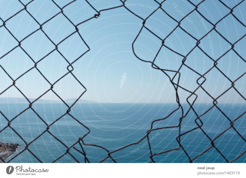 No borders Ocean Water Coast Metal Fence Looking Simple Far-off places Free Infinity Uniqueness Trashy Turquoise Anticipation Calm Curiosity Loneliness