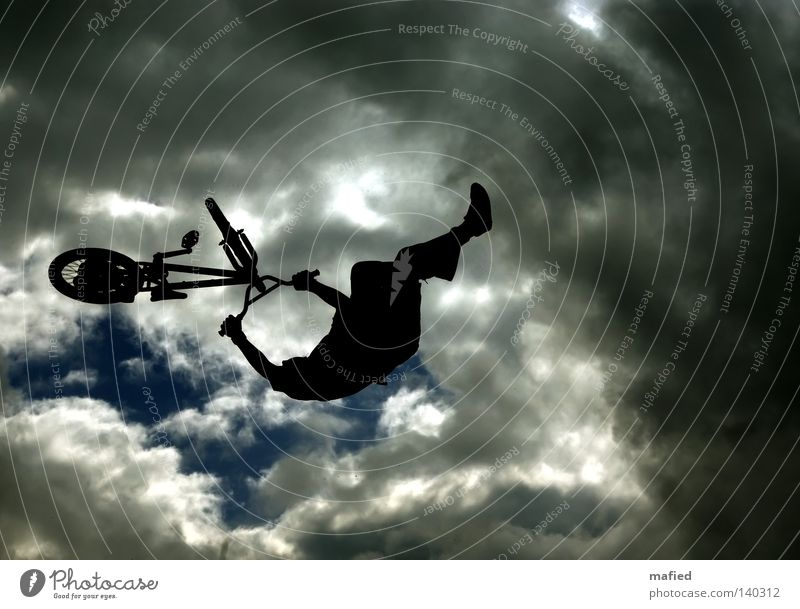 Sky White Blue Black Clouds Dark Jump Gray Bicycle Flying BMX bike Descent Acrobatics Ramp Extreme sports Head first