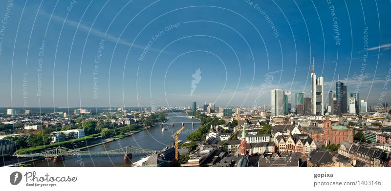 Panorama of Frankfurt am Main House (Residential Structure) Sky Summer River Town Downtown Old town Skyline High-rise Bank building built Architecture Modern