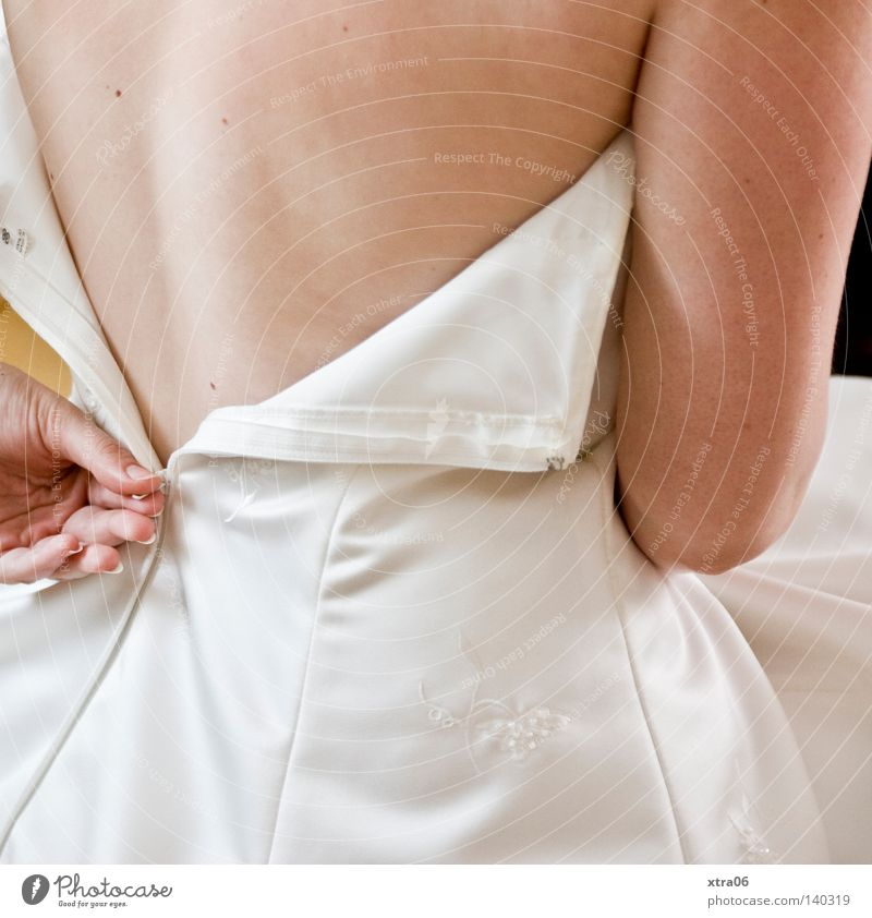 the zipper Bride Woman Wedding dress Back Skin Arm Hand
