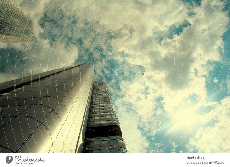 Sky City Clouds Work and employment Above Movement Building Business Power Architecture Glittering Germany Large High-rise Beginning