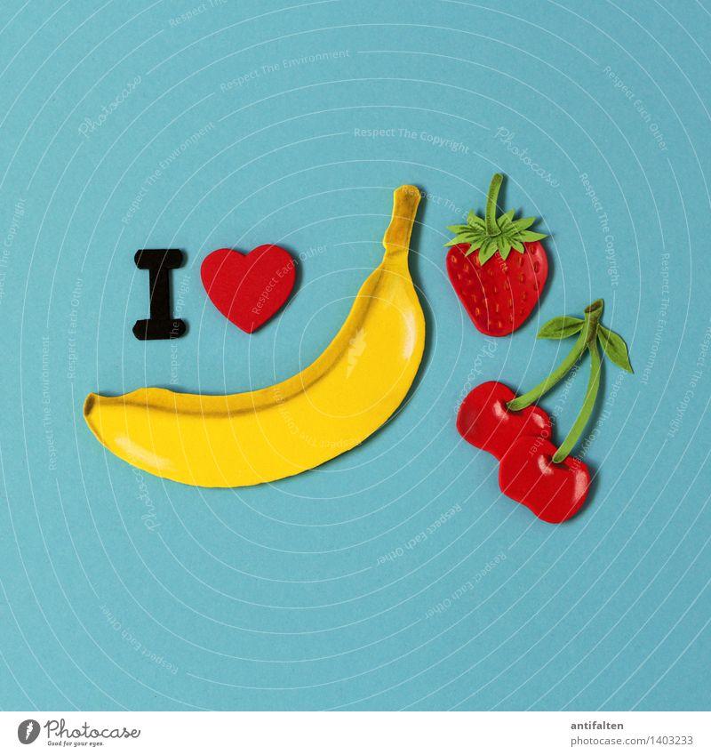 I <3 diversity Food Fruit Cherry Banana Strawberry Nutrition Eating Vegetarian diet Diet Leisure and hobbies Handcrafts Handicraft Summer Art Design Poster