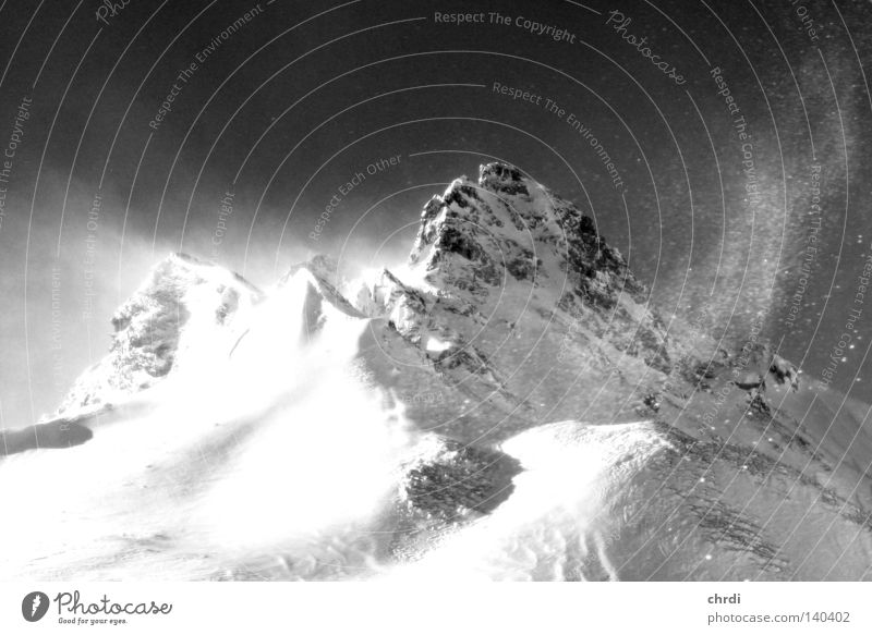 The summit Mountain Peak Snow Winter Cold Gale Wind Rock Mountaineering Climbing Tux Glacier White Black Black & white photo