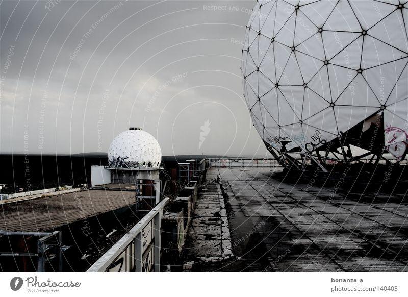 radar Subdued colour Exterior shot Detail Twilight Far-off places Moon Architecture Graffiti Net Sadness Dark Round Grief Loneliness Radar station Platform