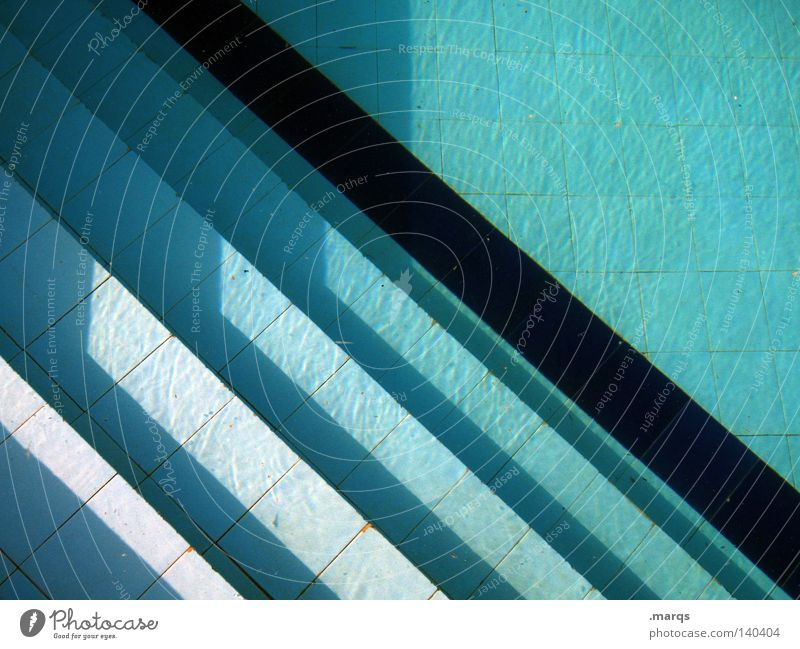 Blue Water Vacation & Travel Summer Joy Black Background picture Leisure and hobbies Stairs Bathroom Swimming pool Tile Turquoise Geometry Basin Open-air swimming pool