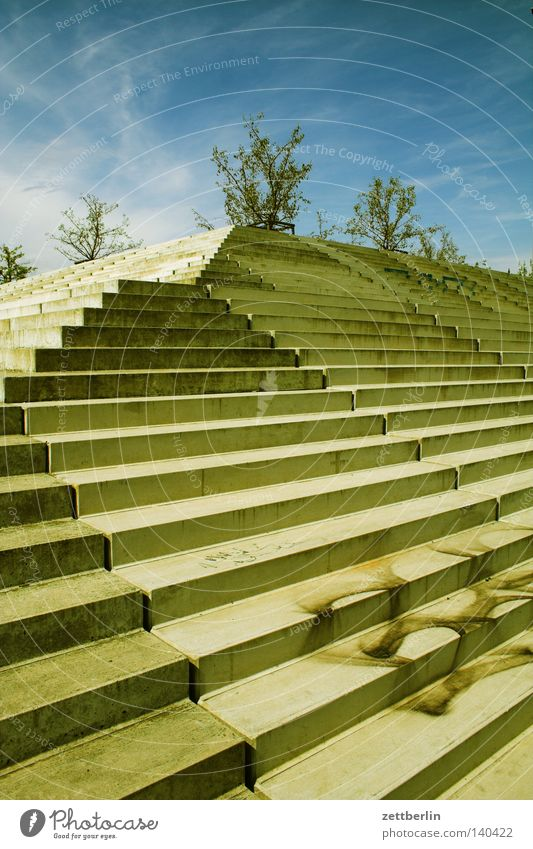 Berlin Concrete Perspective Stairs Corner Level Ascending Career Go up Steep Landing Incline Vanishing point Steps
